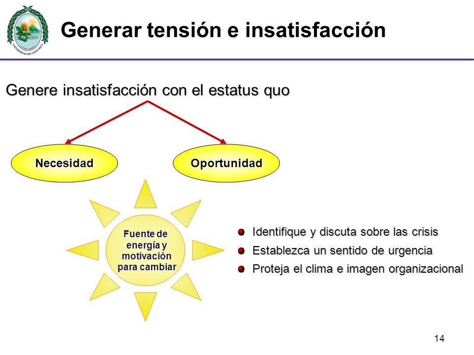 Generar tensión e insatisfacción