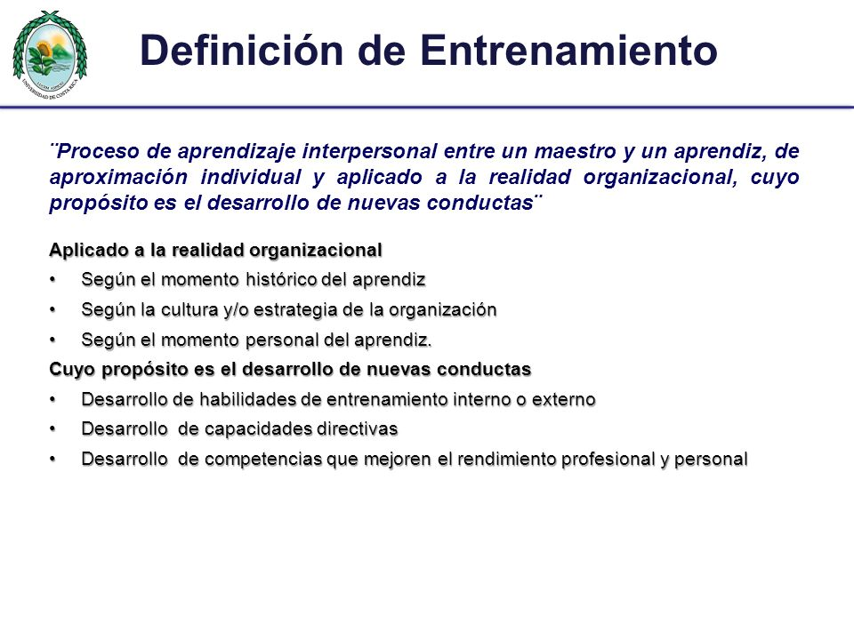 Definición de Entrenamiento
