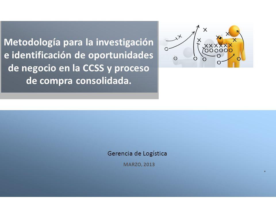 Metodología para la investigación e identificación de oportunidades de negocio en la CCSS y proceso de compra consolidada.