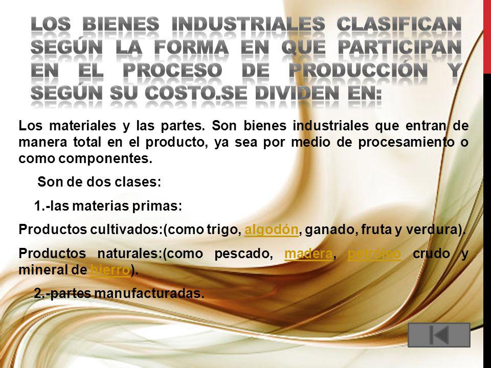 los bienes industriales clasifican según la forma en que participan en el proceso de producción y según su costo.se dividen en:
