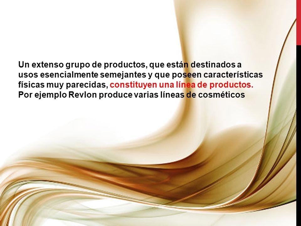 Un extenso grupo de productos, que están destinados a usos esencialmente semejantes y que poseen características físicas muy parecidas, constituyen una línea de productos.
