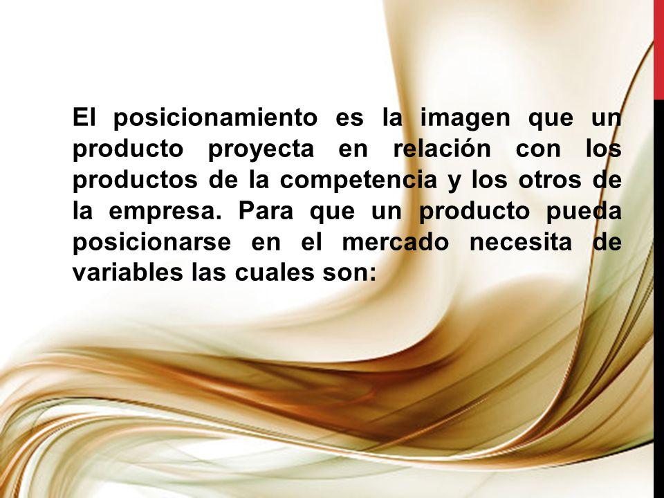 El posicionamiento es la imagen que un producto proyecta en relación con los productos de la competencia y los otros de la empresa.