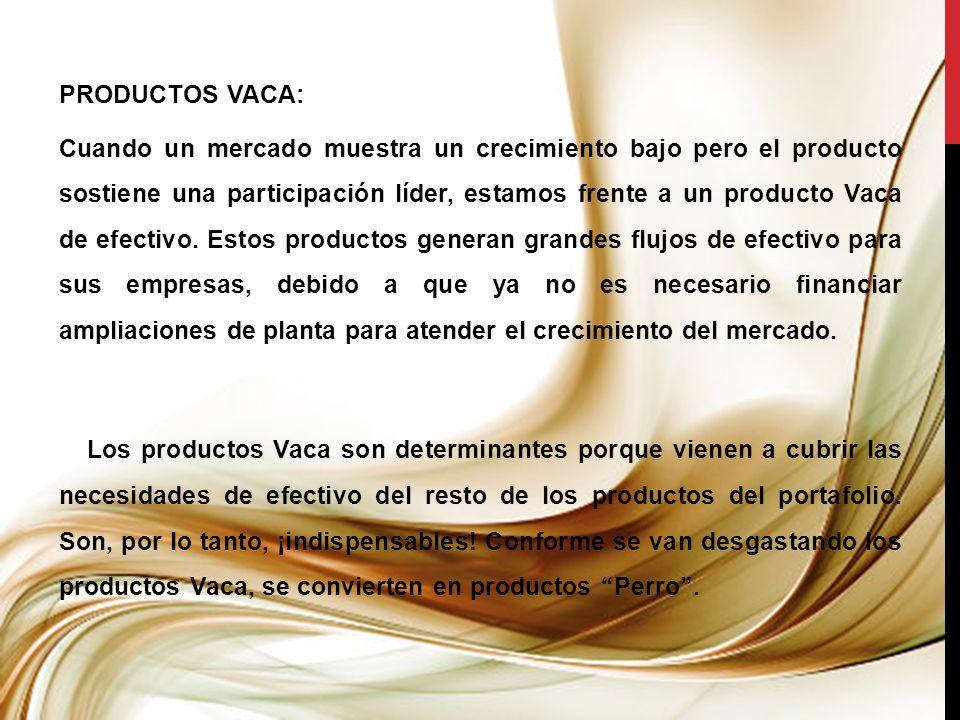 PRODUCTOS VACA: Cuando un mercado muestra un crecimiento bajo pero el producto sostiene una participación líder, estamos frente a un producto Vaca de efectivo.