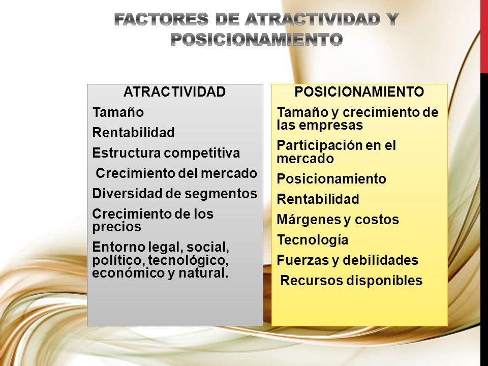 FACTORES DE ATRACTIVIDAD Y POSICIONAMIENTO