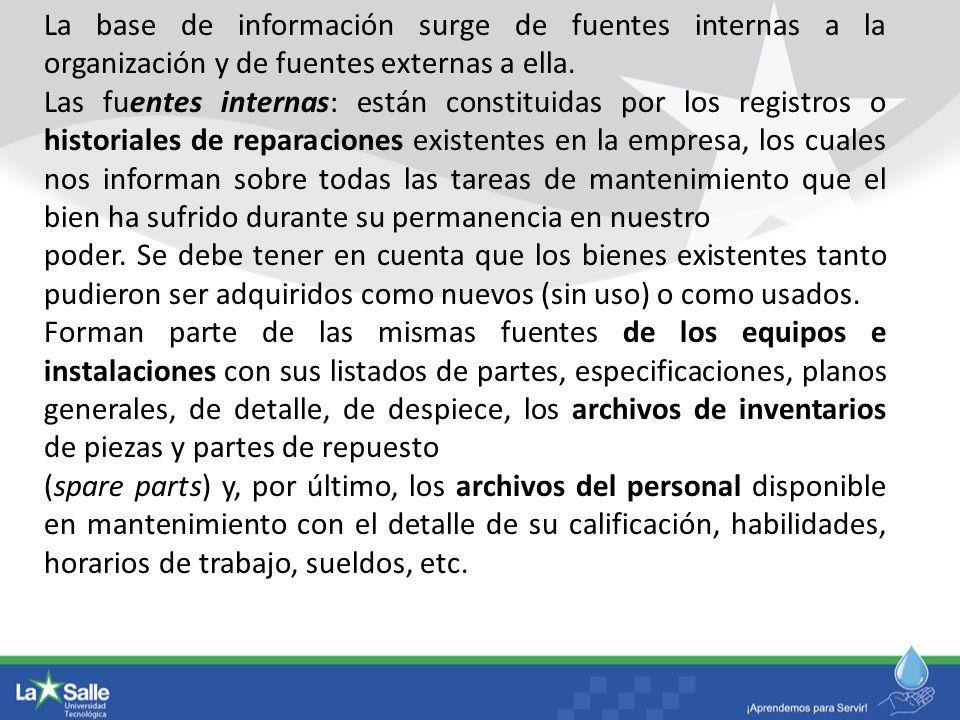 La base de información surge de fuentes internas a la organización y de fuentes externas a ella.
