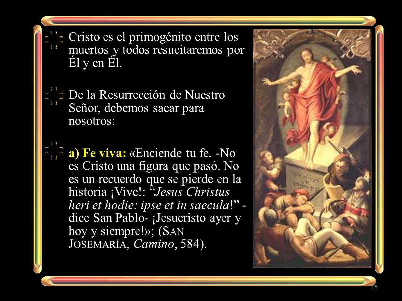 Cristo es el primogénito entre los muertos y todos resucitaremos por Él y en Él.