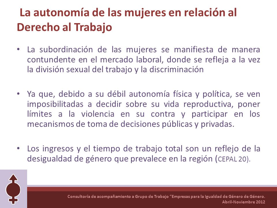 La autonomía de las mujeres en relación al Derecho al Trabajo