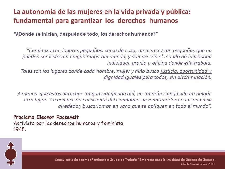 La autonomía de las mujeres en la vida privada y pública: fundamental para garantizar los derechos humanos
