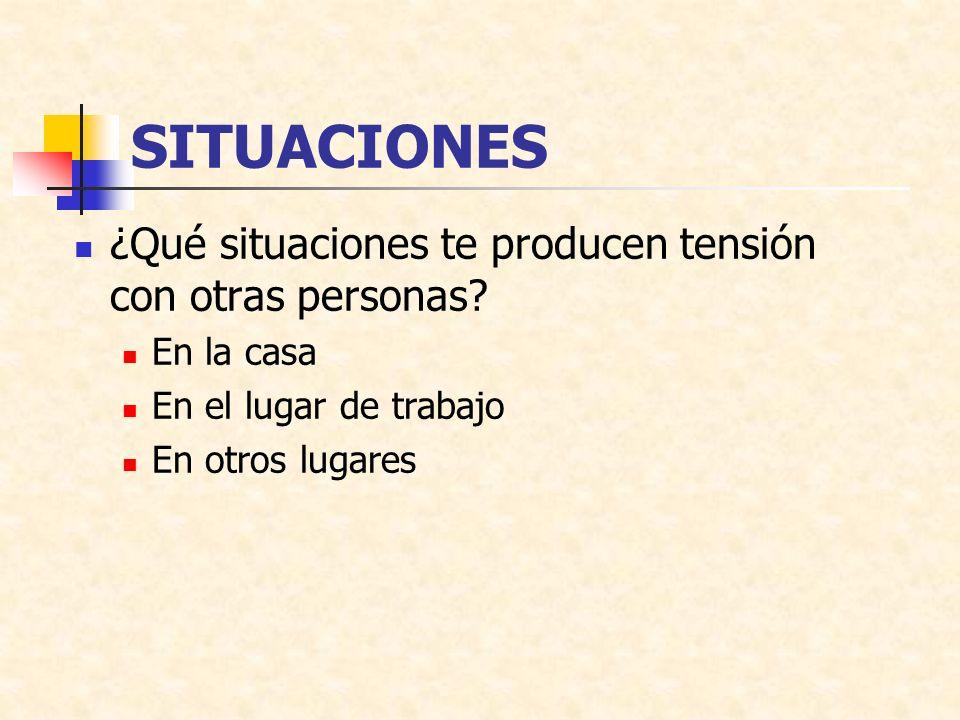 SITUACIONES ¿Qué situaciones te producen tensión con otras personas
