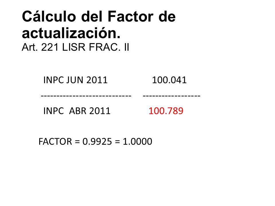 Cálculo del Factor de actualización. Art. 221 LISR FRAC. II