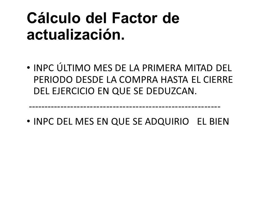 Cálculo del Factor de actualización.