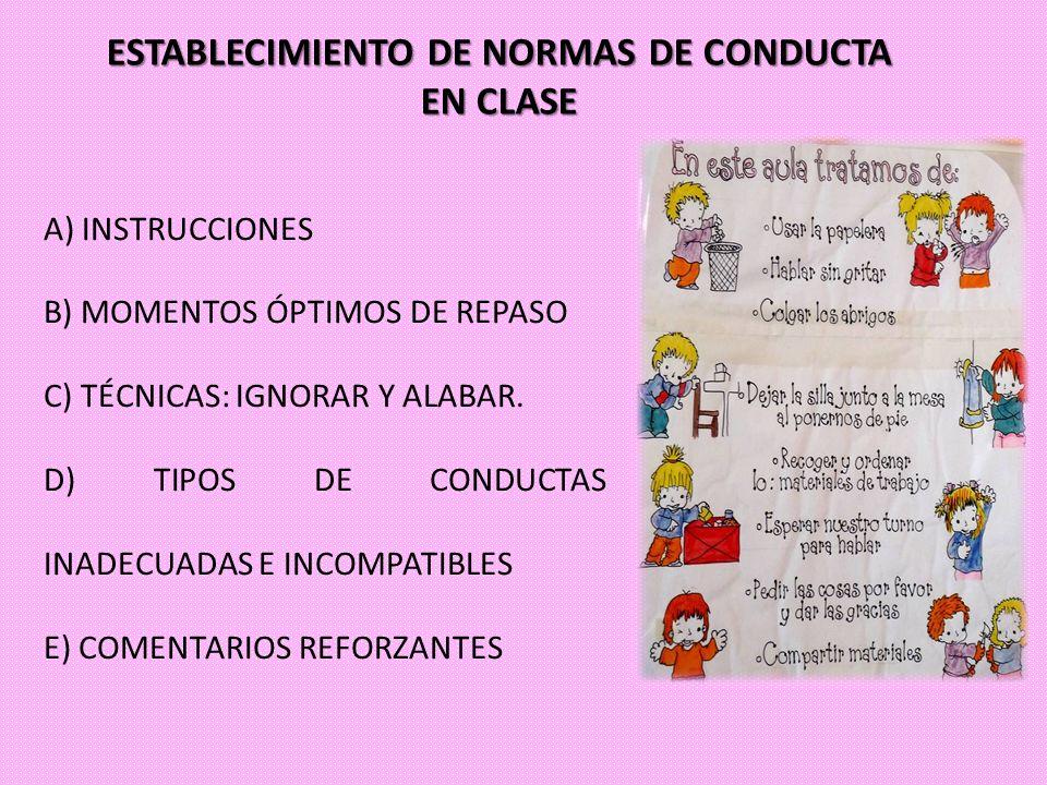 ESTABLECIMIENTO DE NORMAS DE CONDUCTA EN CLASE