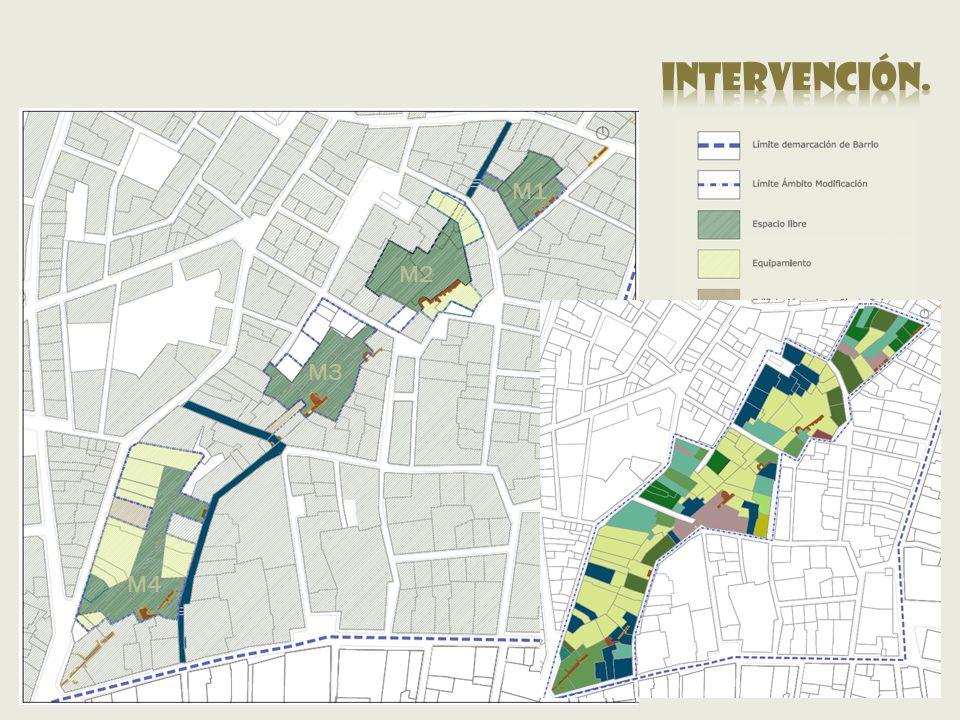 intervención. M1 M2 M3 Vacios Urbanos M2 - M4 Zonas Verdes