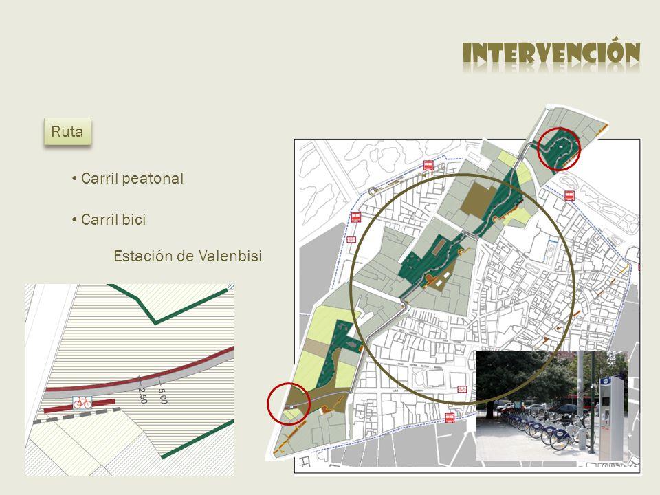 intervención Ruta Carril peatonal Carril bici Estación de Valenbisi