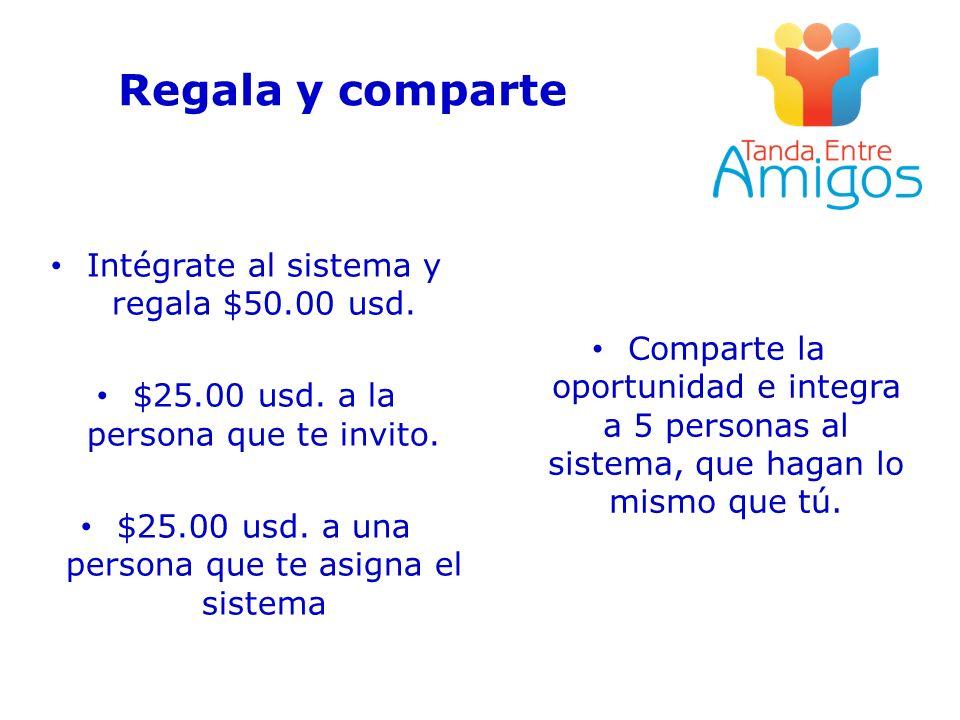 Regala y comparte Intégrate al sistema y regala $50.00 usd.