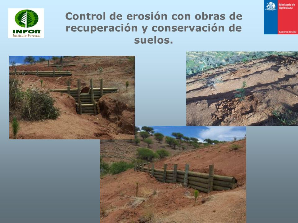 Control de erosión con obras de recuperación y conservación de suelos.