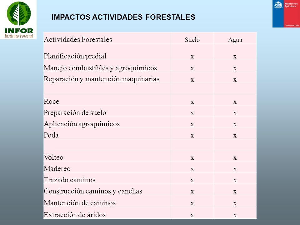 IMPACTOS ACTIVIDADES FORESTALES Actividades Forestales