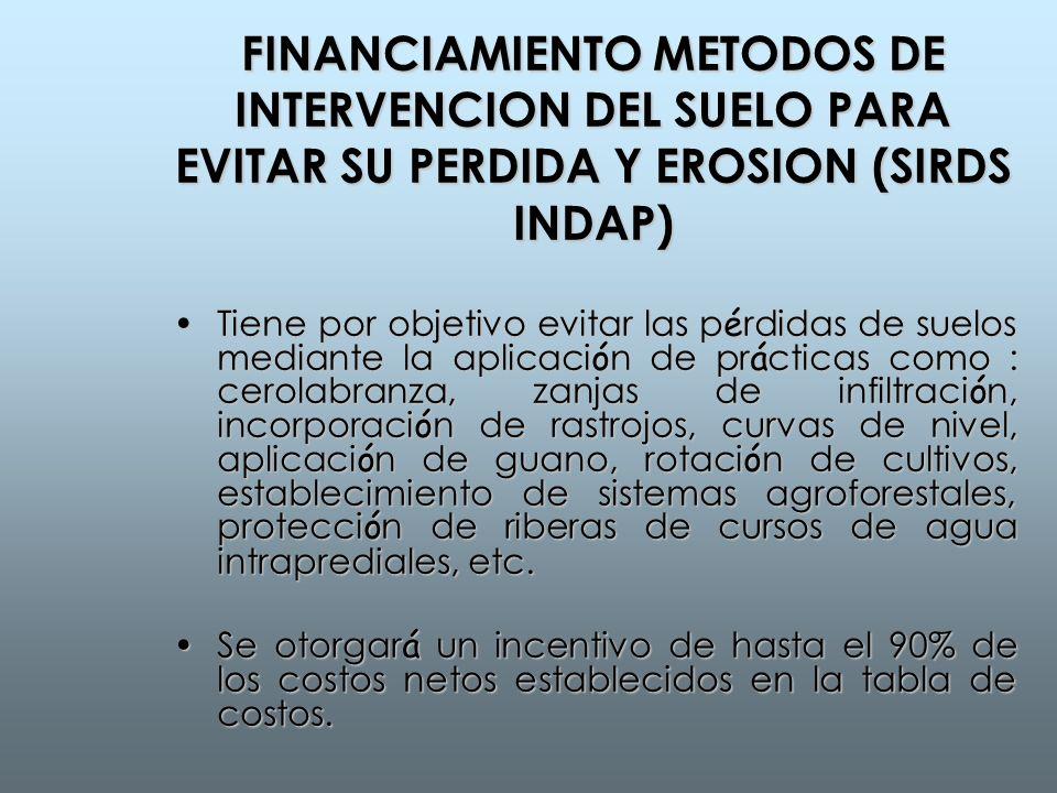 FINANCIAMIENTO METODOS DE INTERVENCION DEL SUELO PARA EVITAR SU PERDIDA Y EROSION (SIRDS INDAP)