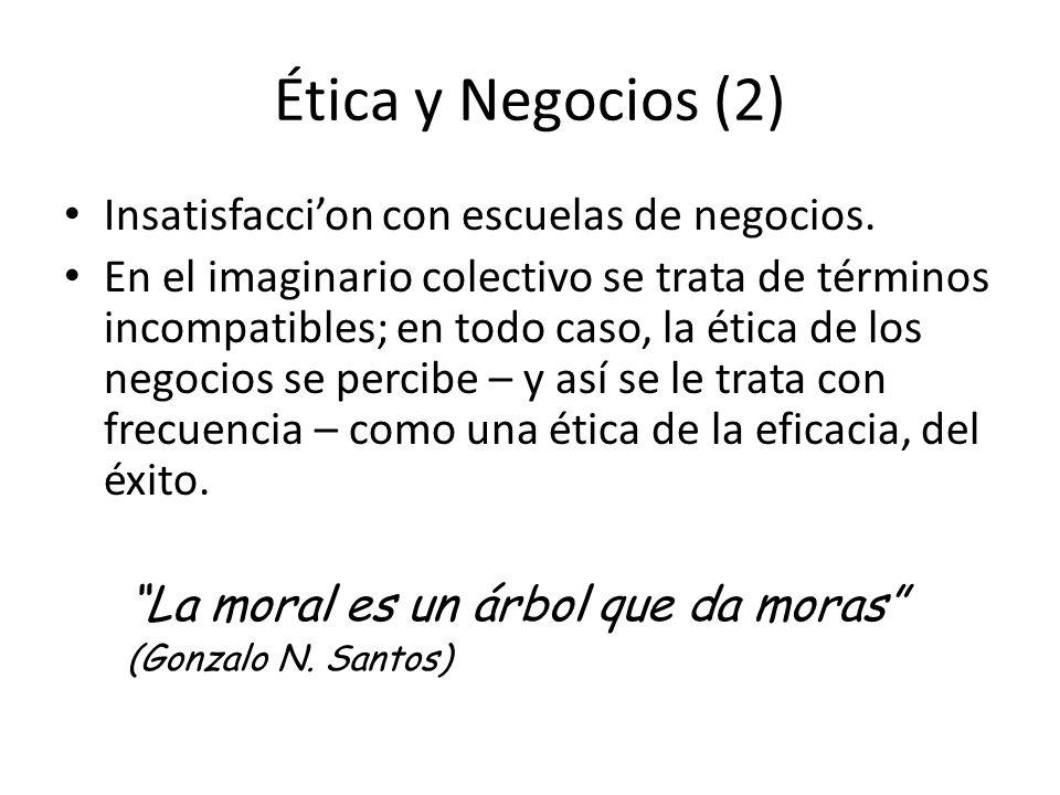 Ética y Negocios (2) Insatisfacci'on con escuelas de negocios.