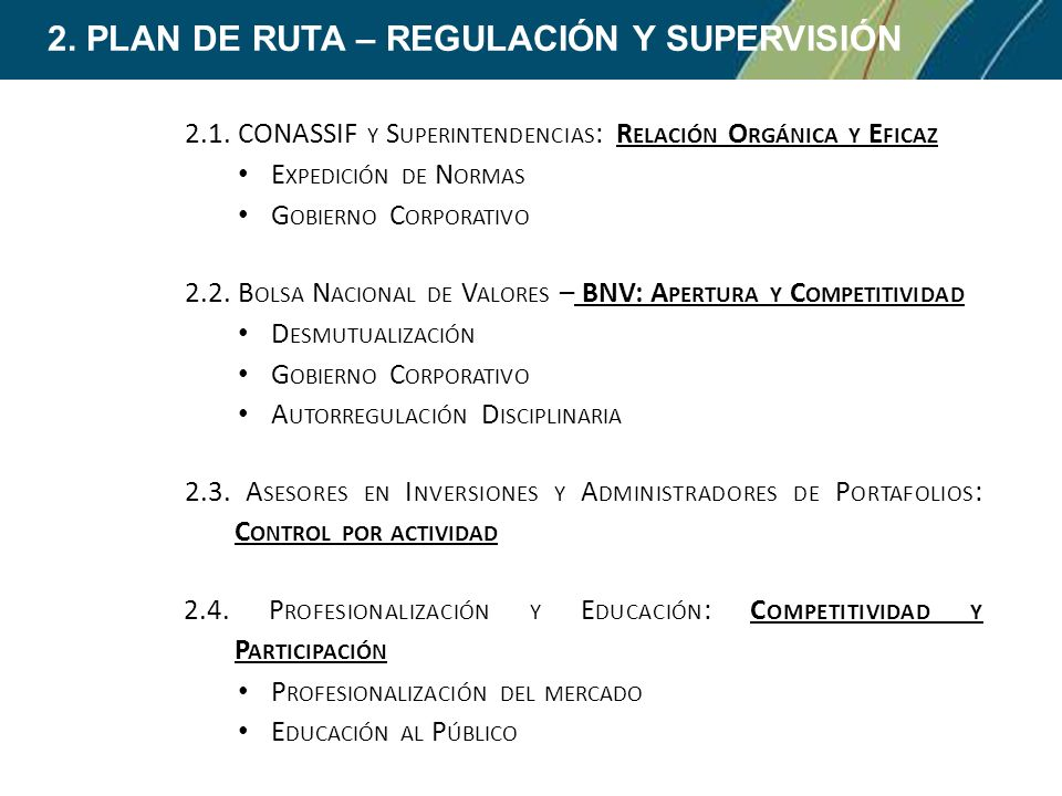 2. PLAN DE RUTA – REGULACIÓN Y SUPERVISIÓN