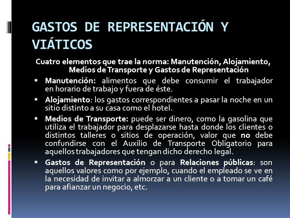 GASTOS DE REPRESENTACIÓN Y VIÁTICOS