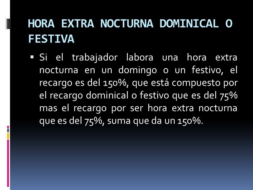 HORA EXTRA NOCTURNA DOMINICAL O FESTIVA
