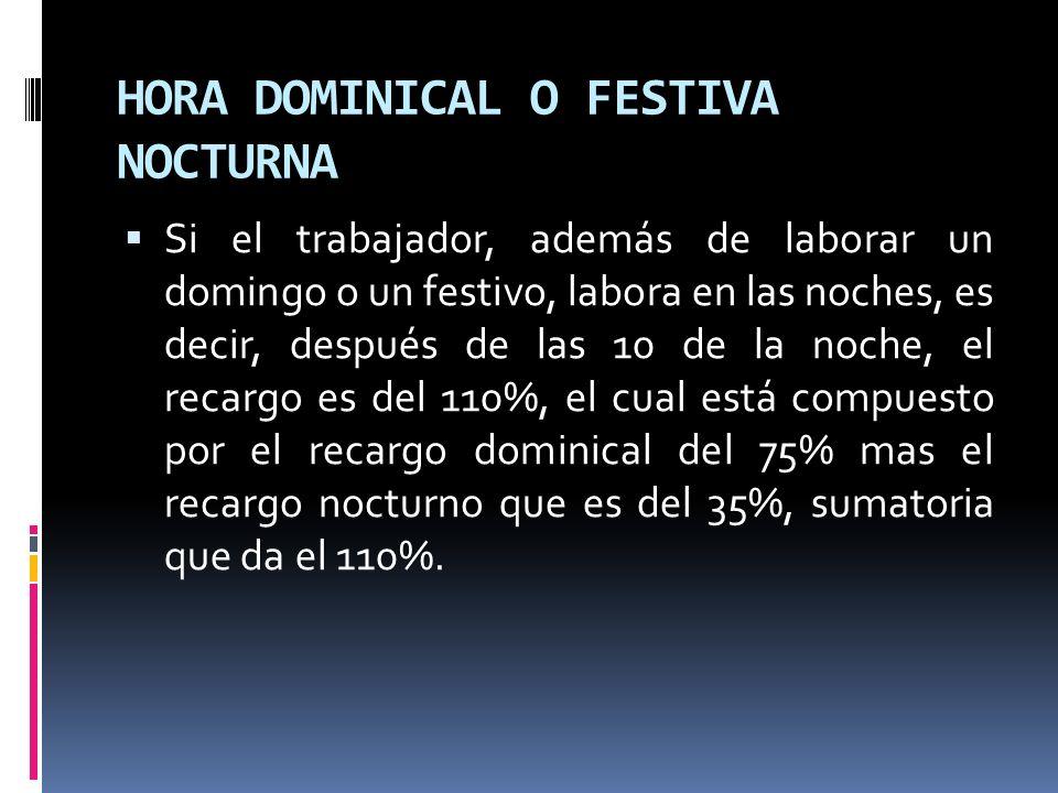 HORA DOMINICAL O FESTIVA NOCTURNA
