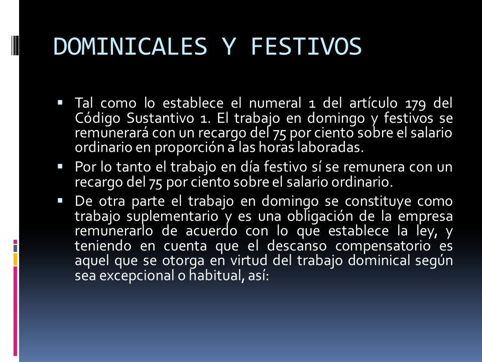 DOMINICALES Y FESTIVOS