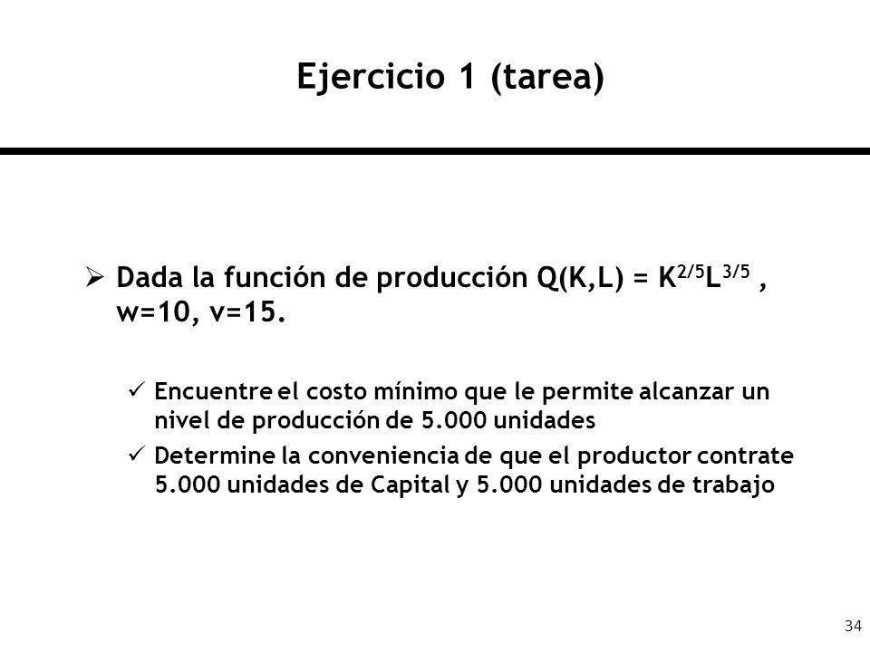 Ejercicio 1 (tarea) Dada la función de producción Q(K,L) = K2/5L3/5 , w=10, v=15.