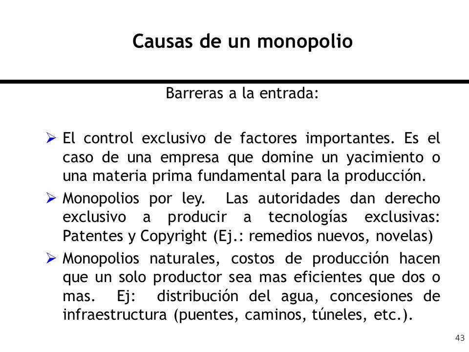 Causas de un monopolio Barreras a la entrada:
