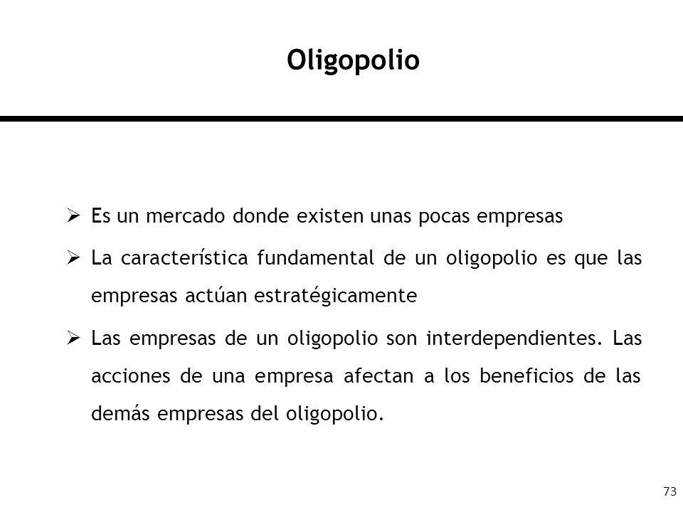 Oligopolio Es un mercado donde existen unas pocas empresas