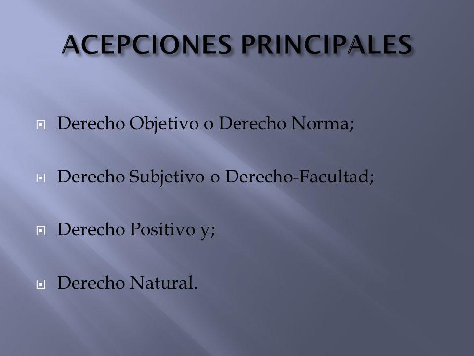 ACEPCIONES PRINCIPALES