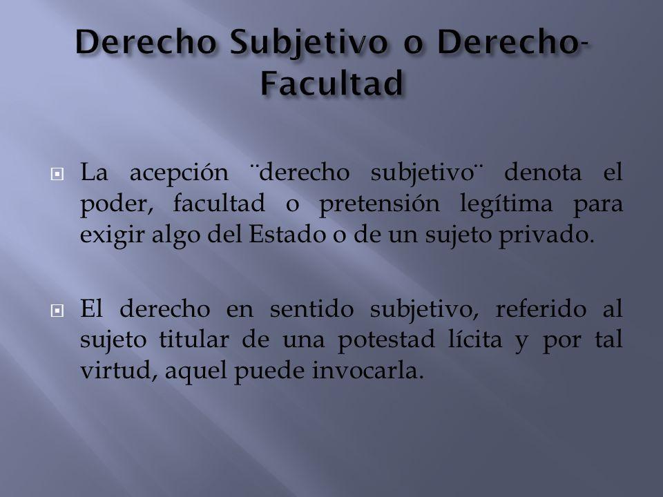 Derecho Subjetivo o Derecho-Facultad
