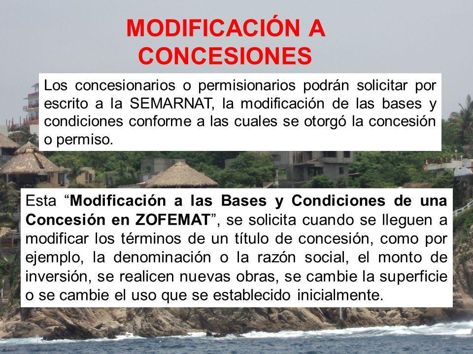 MODIFICACIÓN A CONCESIONES