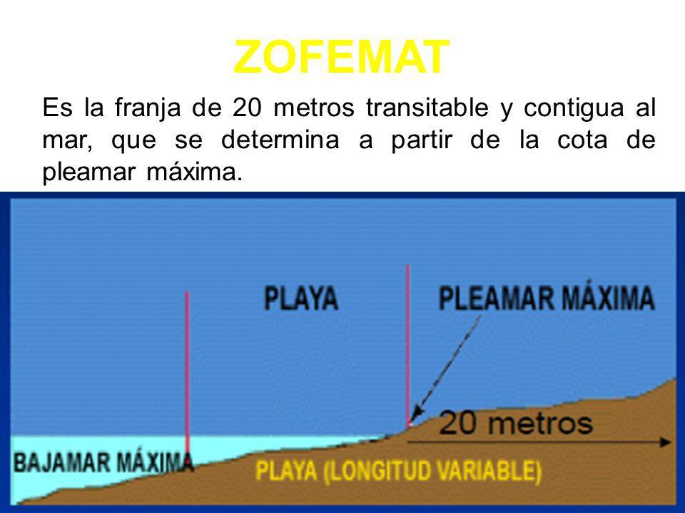 ZOFEMAT Es la franja de 20 metros transitable y contigua al mar, que se determina a partir de la cota de pleamar máxima.