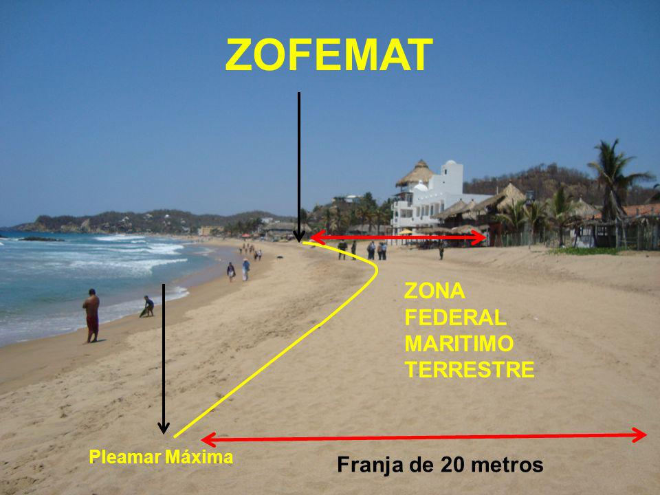 ZOFEMAT ZONA FEDERAL MARITIMO TERRESTRE Franja de 20 metros