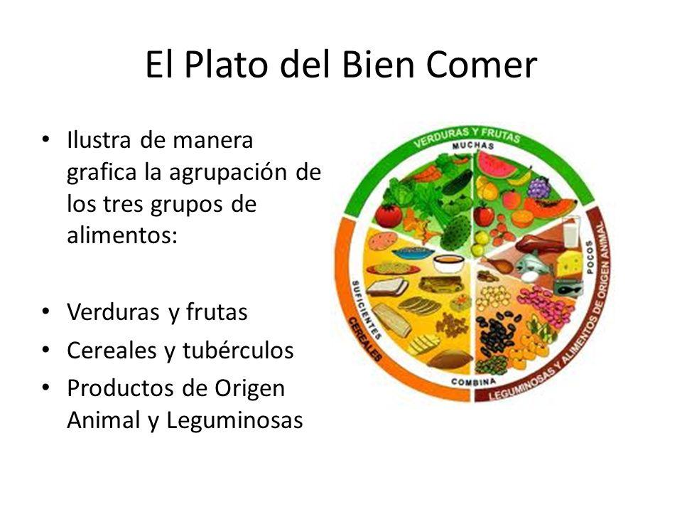 El Plato del Bien Comer Ilustra de manera grafica la agrupación de los tres grupos de alimentos: Verduras y frutas.