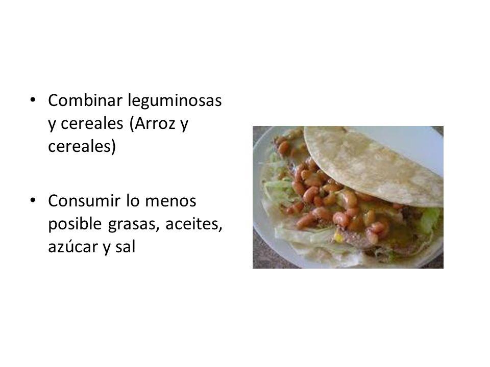 Combinar leguminosas y cereales (Arroz y cereales)