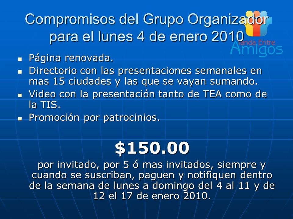 Compromisos del Grupo Organizador para el lunes 4 de enero 2010
