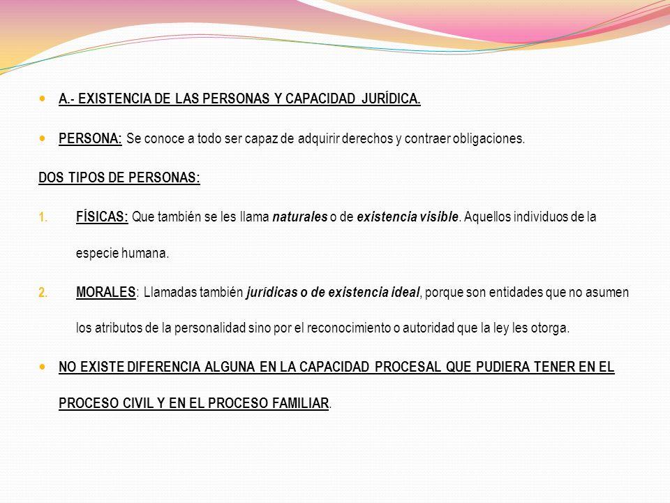 A.- EXISTENCIA DE LAS PERSONAS Y CAPACIDAD JURÍDICA.