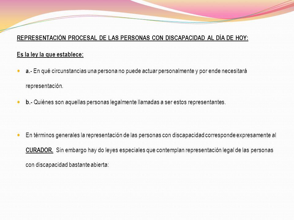 REPRESENTACIÓN PROCESAL DE LAS PERSONAS CON DISCAPACIDAD AL DÍA DE HOY: