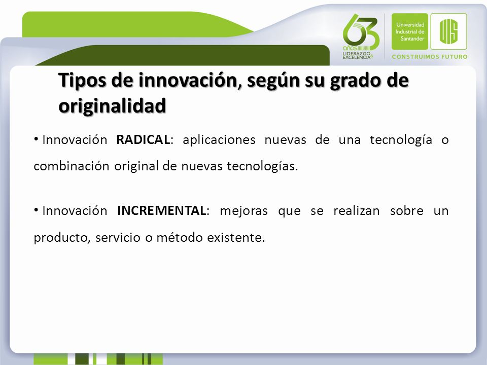 Tipos de innovación, según su grado de originalidad