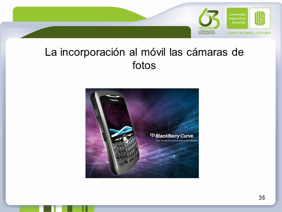 La incorporación al móvil las cámaras de fotos