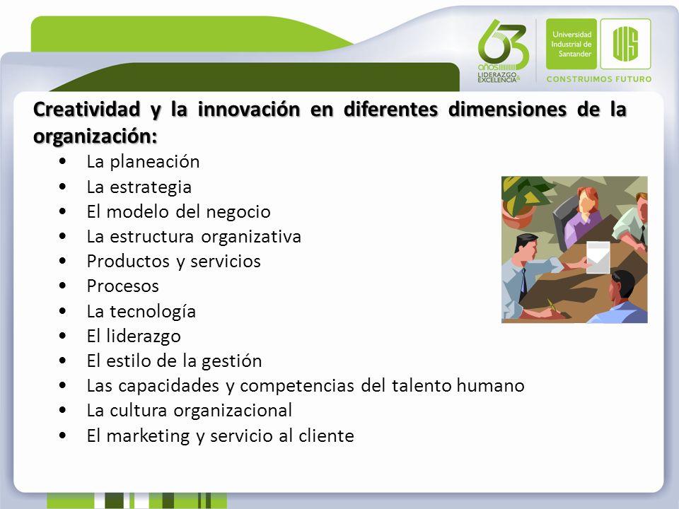 Creatividad y la innovación en diferentes dimensiones de la organización: