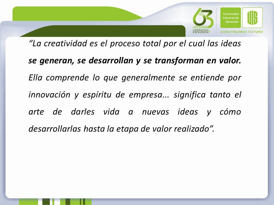 La creatividad es el proceso total por el cual las ideas se generan, se desarrollan y se transforman en valor.