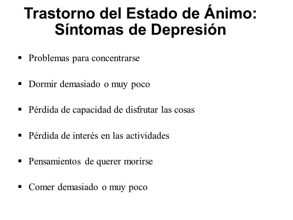 Trastorno del Estado de Ánimo: Síntomas de Depresión