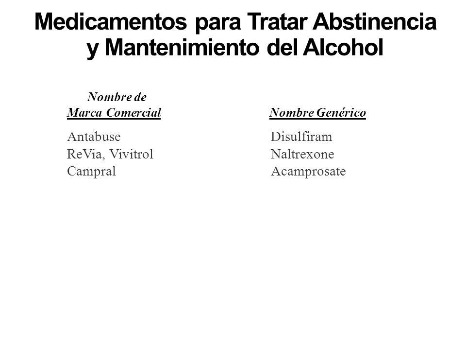 Medicamentos para Tratar Abstinencia y Mantenimiento del Alcohol