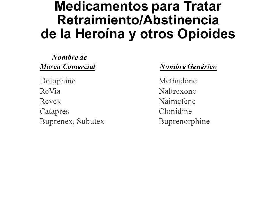 Medicamentos para Tratar Retraimiento/Abstinencia de la Heroína y otros Opioides