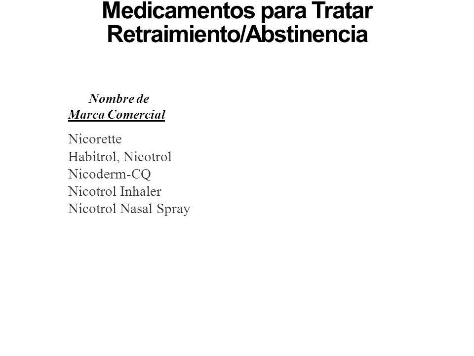 Medicamentos para Tratar Retraimiento/Abstinencia y Antojos de Nicotina