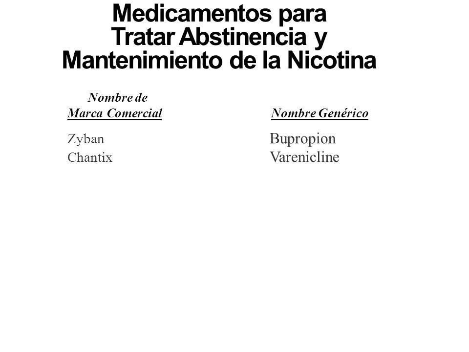 Medicamentos para Tratar Abstinencia y Mantenimiento de la Nicotina